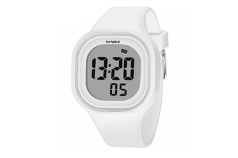 Casual And Colorful Digital Waterproof Silicone Watch White