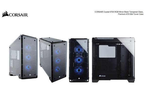 Corsair 570X RGB Mirror Black, Tempered Glass Crystal Series. 3x 120mm RGB LED Fan, ATX Gaming Case.