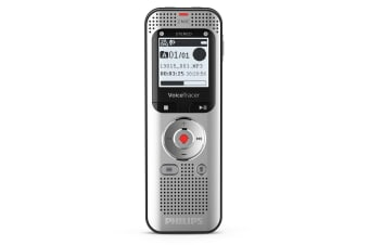 Philips 2 MIC Stereo 8GB In-Built Battery FM Radio Audio Voice Recorder Silver