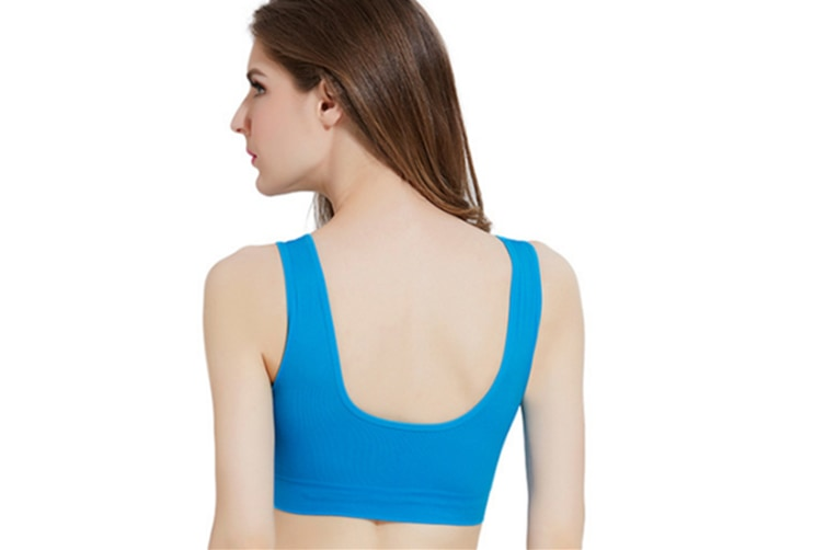 12 Colors WomenWorkout And Gym Seamless Yoga Sports Bra Blue M