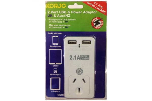 Korjo 2 Port USB & Power Adapter (Australia & UK)