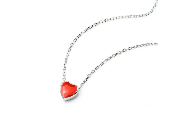 .925 Red Heart Short Necklace-Silver/Red