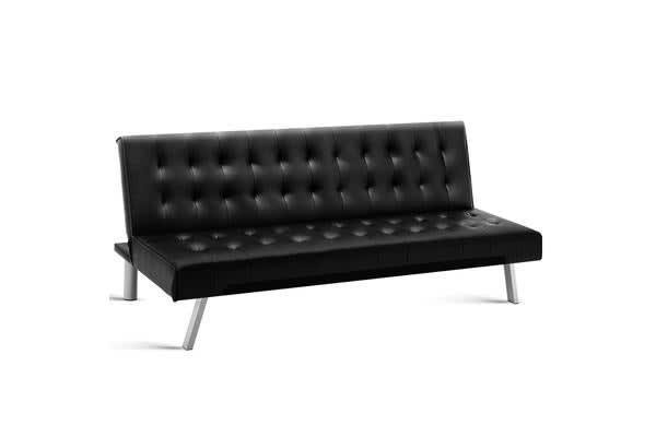 Artiss 3-Seater Leather Sofa Bed (Black)