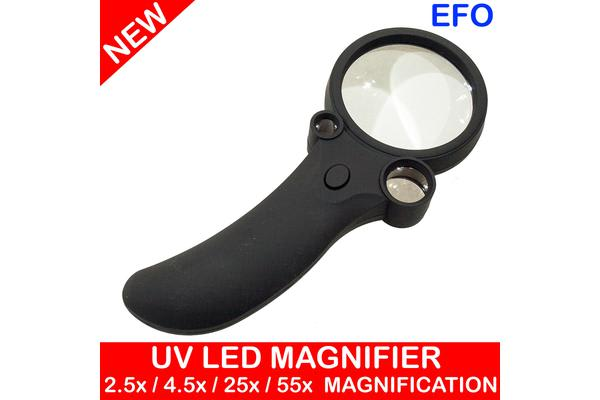 Hand Held Magnifier Glass W/ Led Light Uv Lamp 2.5X 4.5X 25X 55X Magnification