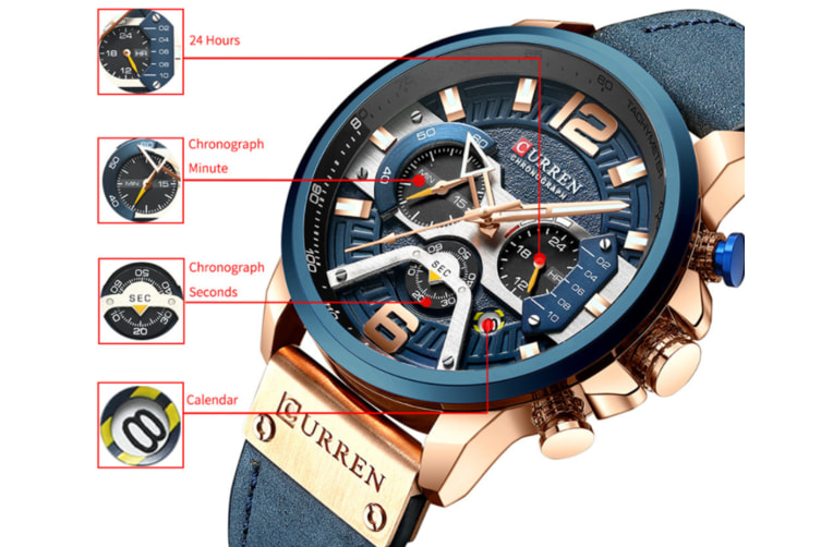 CURREN New Fashion Mens Watch Leather Luxury Brand Sports and Leisure Quartz Chronograph Waterproof Watch-ROSE GOLD BLACK