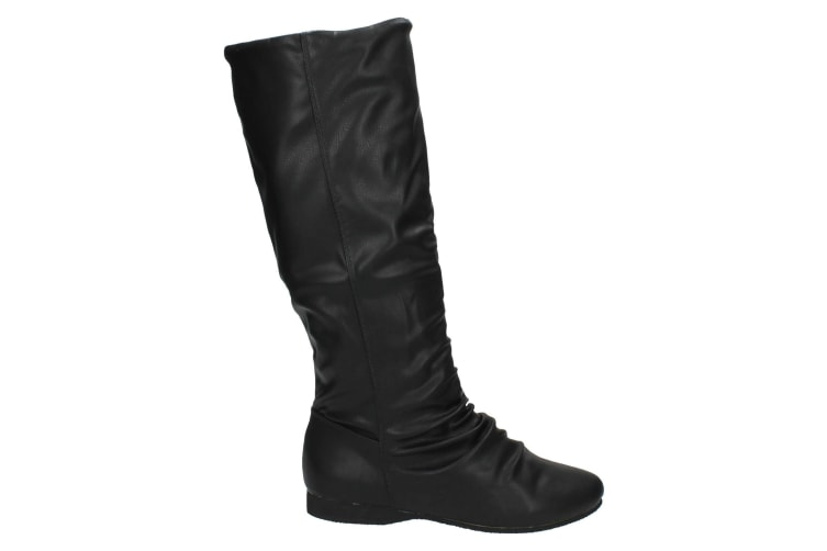 Spot On Womens/Ladies Rouched Faux Fur Calf Boots (Black) (6 UK)