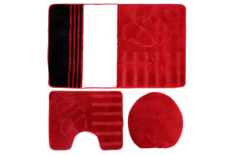Eurobano Three Piece Shell Bathroom Set (Red/White/Black) (60x100cm)