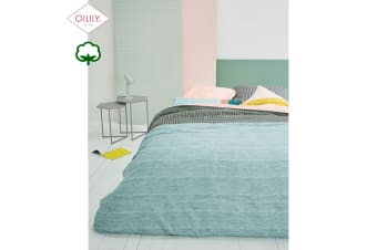 Cotton Sateen Quilt Cover Set Pale Blush Light Blue by Oilily