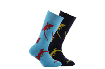 Horizon Childrens/Kids Patterned Socks (Pack Of 2) (Gecko Navy and Airforce Blue)