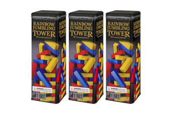 3x 48pc Cardinal Classic Rainbow Wooden Jumbling Tower w/ Tin Case Kids 6y+ Game