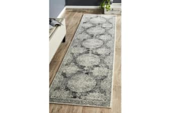 Hazel Charcoal & Grey Durable Vintage Look Runner Rug 300x80cm
