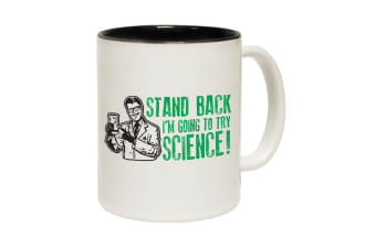 123T Funny Mugs - Stand Back Science - Black Coffee Cup