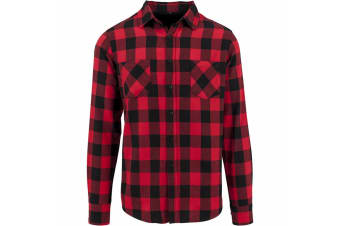 Build Your Brand Mens Checked Flannel Shirt (Black/Red)