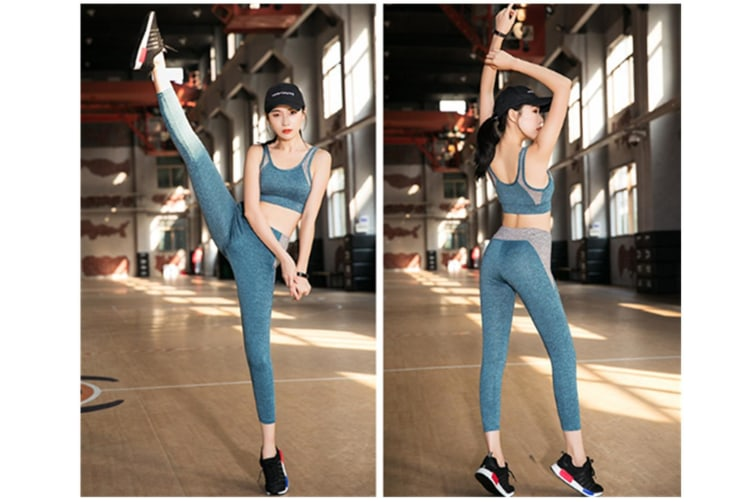 Yoga Sets For Women Racerback Sports Bra With Pants 2 Pieces Fitness Sports Set Blue 2Xl