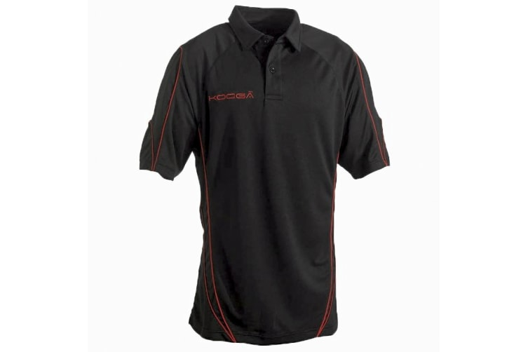 KooGa Pro Technology Teamwear Sports Polo Shirt (Black/Red) (M)