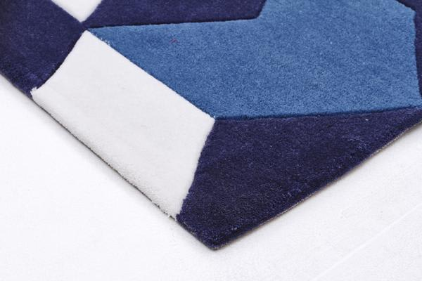 Cube Design Rug Navy Blue White 320x230cm
