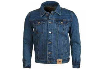 Duke Mens Western Trucker Style Denim Jacket (Stonewash)