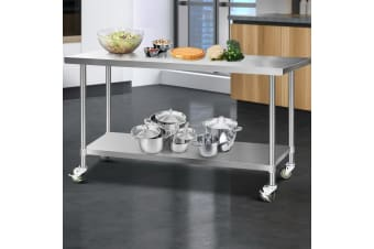 Stainless Steel Kitchen Benches Work Bench Food Prep Table w Wheels
