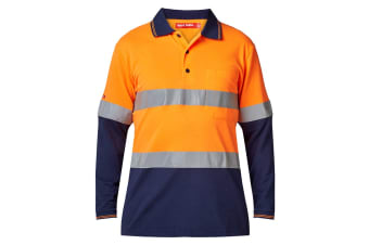 Hard Yakka Men's Hi-Vis Two Tone Taped Long Sleeve Polo (Orange/Navy, Size L)