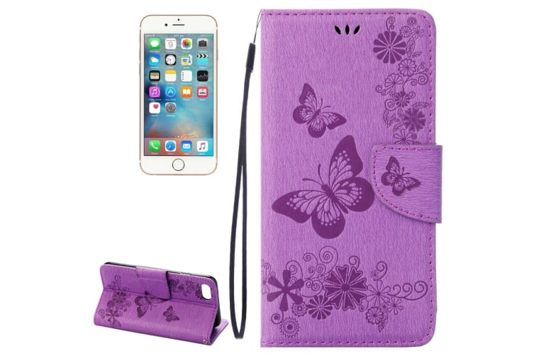 For iPhone 8 7 Wallet Case Elegant Butterflies Embossed Leather Cover Purple