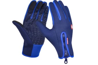 Trendy Outdoor Non-Slip Touch Screen Camping Sports Gloves Blue M