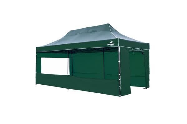 3x6m Gazebo Frame + Roof + Side Cover - GREEN