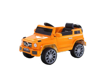 Kids Ride On Car 12V Electric Toys Battery w/ Remote MP3 LED Light Black Yellow  -  Orange