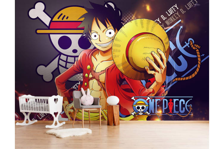 3D Luffy Background Skull 29 Anime Wall Murals Self-adhesive Vinyl, XXXXL 520cm x 290cm (WxH)(205''x114'')