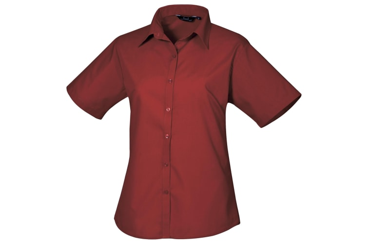 Premier Short Sleeve Poplin Blouse / Plain Work Shirt (Burgundy) (18)