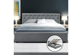King Gas Lift Bed Frame Base With Storage Mattress Fabric WARE