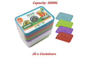 20 x Food Containers Colored Lid 500ML BPA Free Plastic Meal Storage Take Away