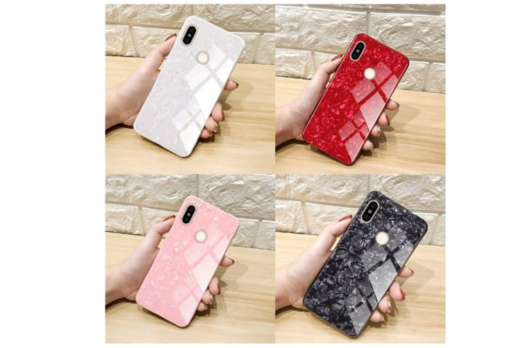 Shiny Seashell Pattern Tempered Glass Hard Back Cover Shell For Xiaomi White Redmi 6A