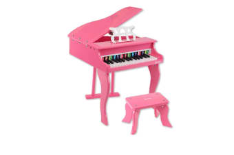 Kids Wooden Pretend Musical Toy Baby Children Grand Toy Mini 30 Keys Piano Pink