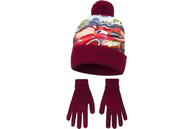 Disney Cars Childrens Boys Top Speed Winter Hat And Gloves Set (Maroon) (52cm)