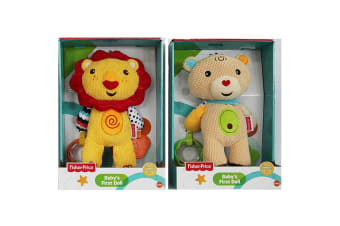 2PK Fisher Price Lion/Bear First Doll 25cm Soft/Educational Rattle Baby Toy 0m+