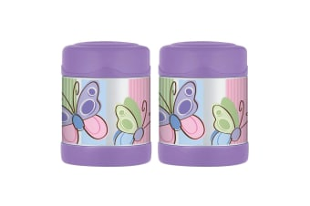 2PK Thermos Funtainer 290ml Food Jar Stainless Steel Vacuum Flask Butterfly PP