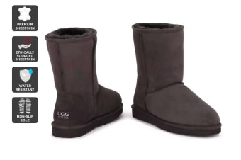 Outback Ugg Boots Short Classic - Premium Sheepskin (Chocolate, 13M / 14W US)