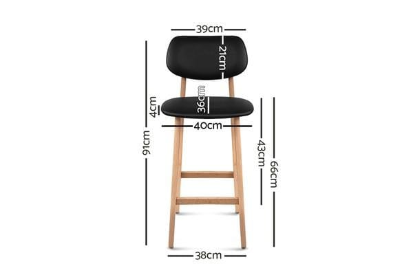 Artiss Set of 2 PU Leather Ramsey Bar Stools (Black)