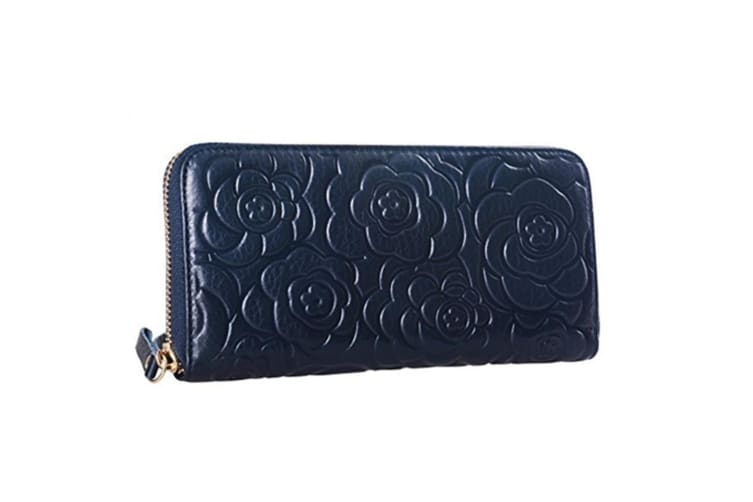 Womens Leather Wallets Long Zippered Around Handbag Card Case Holder Money Clip Wallet Navy