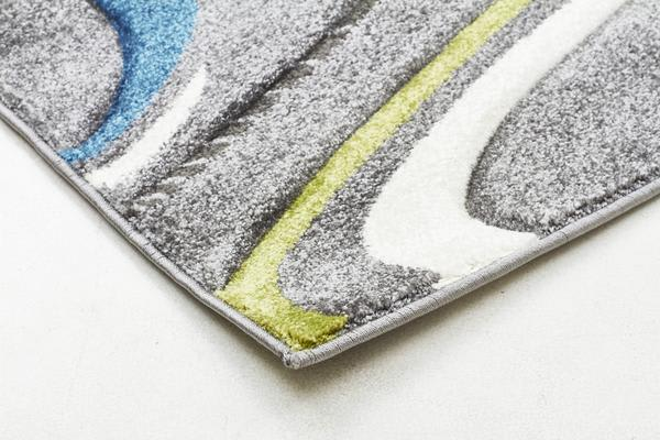 Ultra Modern Swirl Rug Grey Blue Green 300x80cm