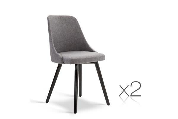 Set of 2 Round Backed Fabric Dining Chair (Grey)
