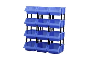 12pcs DIY Storage Bin Stackable Tool Box BLUE M