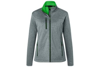 James and Nicholson Womens/Ladies Fleece Lined Softshell Jacket (Dark Grey Melange/Green) (S)