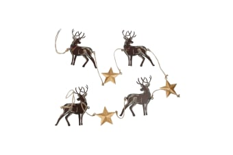 Deck The Halls Stag and Star Garland (Brown/Gold)
