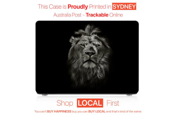 "Hard Case Cover for Apple Macbook Pro 13"" Inch  A1708-Matte Clear-Black White Lion"