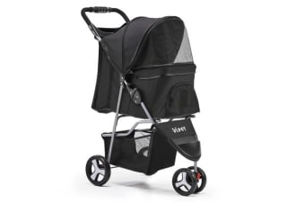 i.Pet 3 Wheel Pet Stroller (Black)