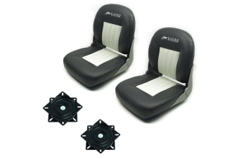Kaiser Boating Set of 2 Deluxe Pro Boat seat - 28oz Marine Grade Vinyl, Charcoal & White with swivels