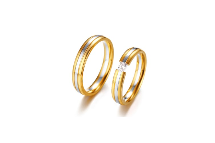 Gold Planting Stainless Steel Couples Ring - Men Gold 12