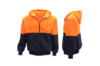 HI VIS Full Zip Fleece-lined Fleecy Hoodie Jumper Safety Workwear Pocket Jacket - Fluro Orange / Navy - Fluro Orange / Navy