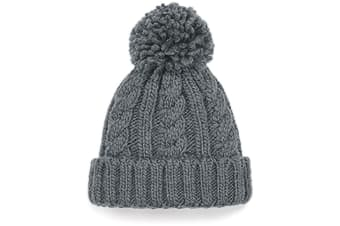 Beechfield Childrens/Kids Cable Knit Melange Beanie (Light Grey) (One Size)